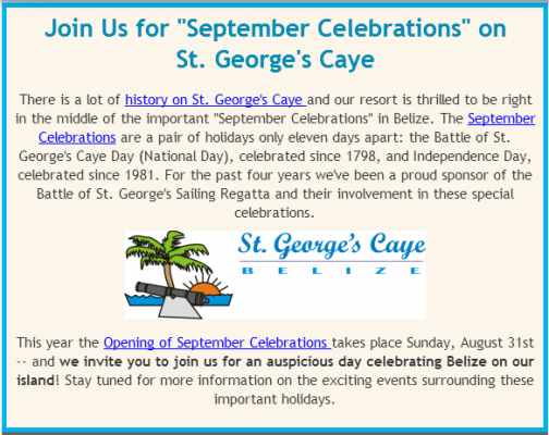 St. George's Caye Day in Belize :: Join us!!