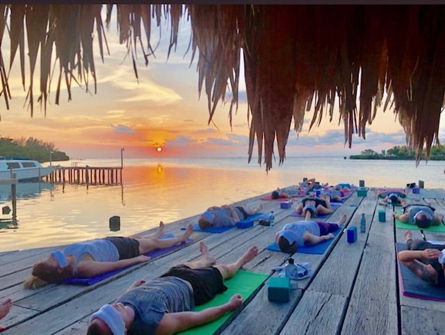 Yoga on the sun dock