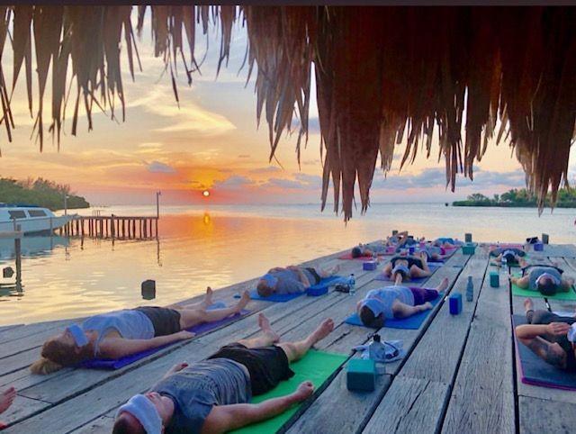 Yoga on the sun dock