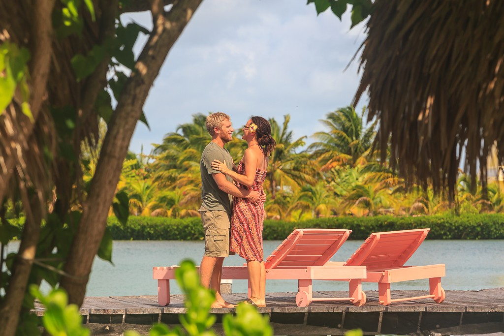 St.GeorgesCaye couple on overwater cabanas dock